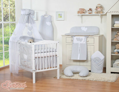 BABY BEDDING SET 10 PIECES! COT WITH HEART