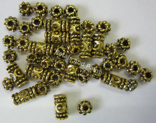 42 Spacer Beads Boho Gold Tone Metal Bead Beading /& Jewellery Making TAR084