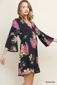 Umgee Bohemian Floral Print Bell Sleeve Dress Size Small