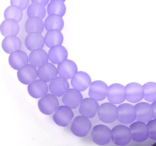 Lavender 6mm Rocaille Beads Matte 50 Czech Frosted Sea Glass Round