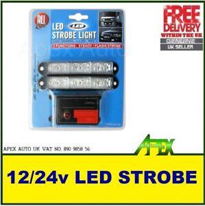 LED-Strobe-Light-WHITE-12-amp-24V-Universal-Vehicle-Car-Van-Lorry-Truck-BRAND-NEW