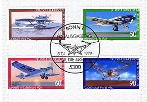 RFA-1979-Aviation-Marque-de-la-jeunesse-N-1005-1008-avec-le-Bonner-Estampille