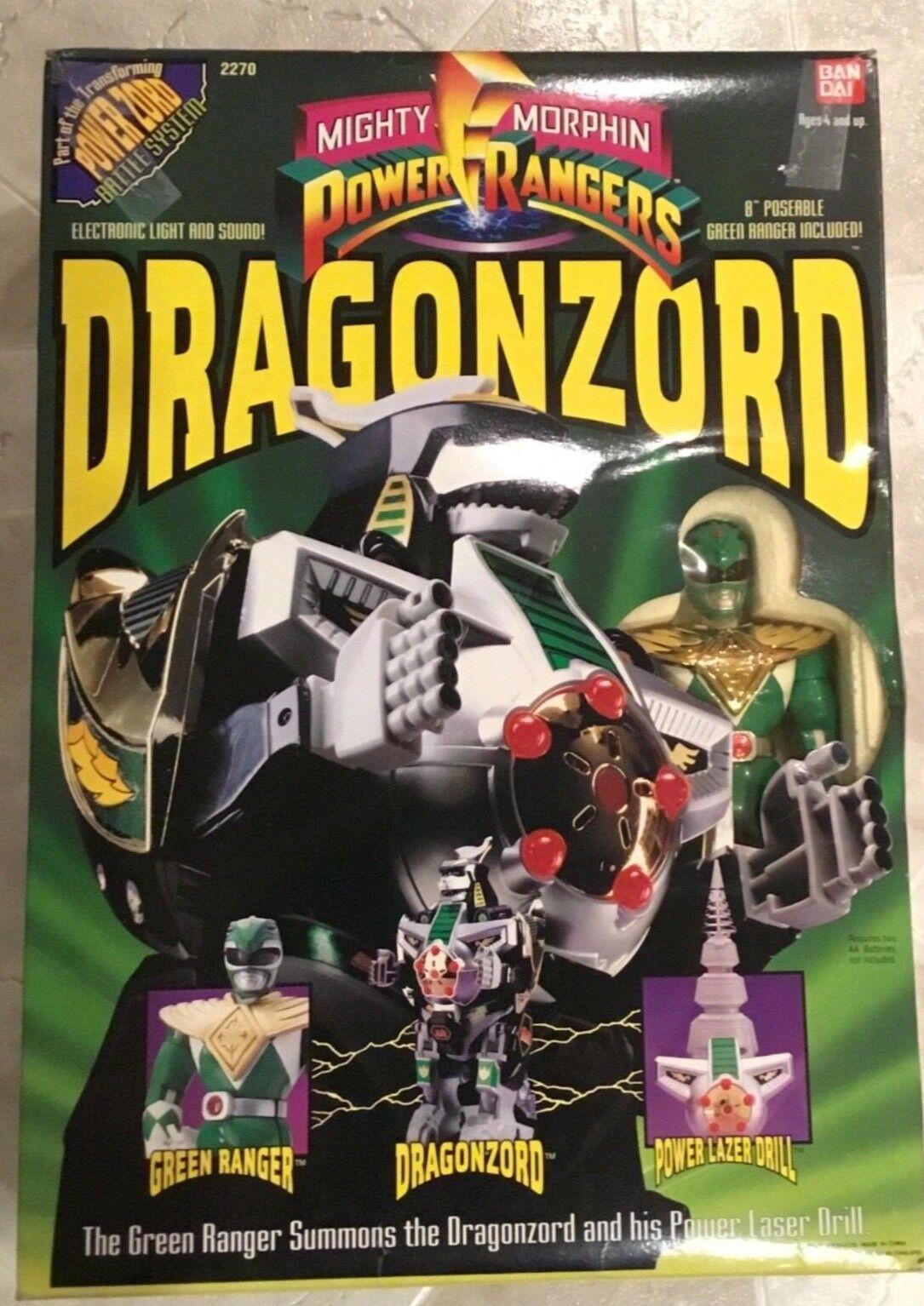 Mighty Morphin Power Rangers DRAGONZORD avec 8  Présentoir vert Ranger 1993