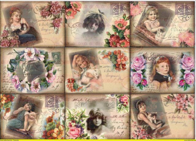 Bügelbild Vintage Blumen Kinder Postkarte french Bügelbilder DIN A4  NO. 1199