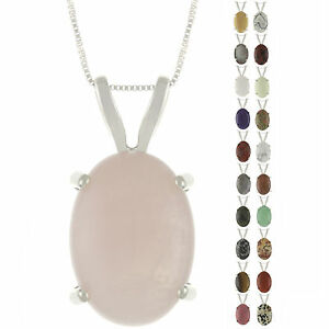 925-Sterling-Silver-Natural-18x13mm-Oval-Cabochon-Gemstones-Pendant-Necklace