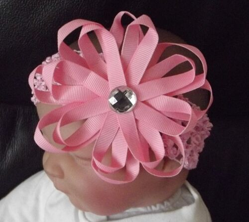 BOUTIQUE BABY 4 INCH GROSGRAIN RIBBON FLOWER BLING CLIP HEADBAND MANY COLOURS