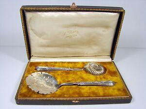 French-Sterling-Silver-Strawberry-Set-Spoon-amp-Sugar-Spoon-Maker-Ravinet-D-039-Enfert