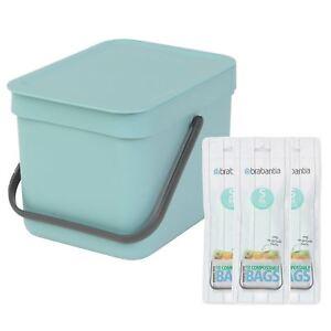 Brabantia Tri & Go déchets alimentaires Caddy - 6 L & 30x Sacs compostables-Menthe-Bleu-afficher le titre d`origine Fe9knCqN-07224754-743865961
