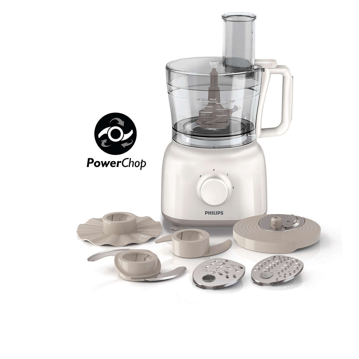 Philips HR7627 02 Daily Collection Food Processor 650 W 2.1 L Blanc