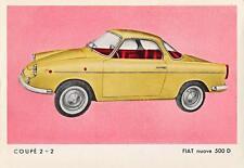 Old Print.  1962 Moretti New Fiat 500D Coupe 2+2 Automobile