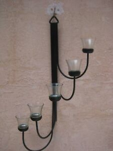 Metal Black Wrought Iron 5 Votive Candle Holder Wall Sconce Tea Light 25