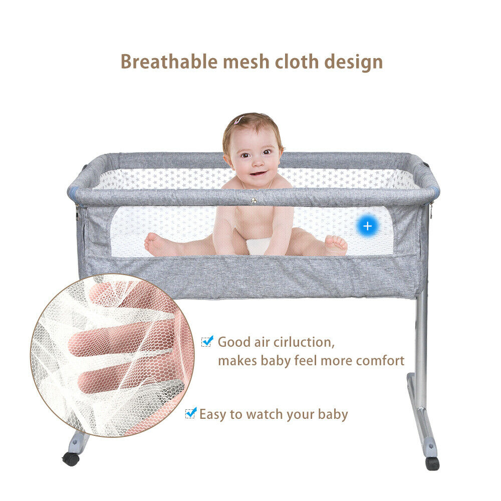 Bedside Sleeper Portable Baby Crib Side Sleeper with Mosquito Net and Breathable Mesh Bedside Bassinet White