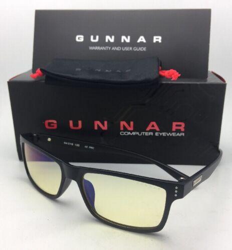 New GUNNAR Computer Glasses VERTEX 54-16 Onyx Black Frame w// Amber Yellow Lenses