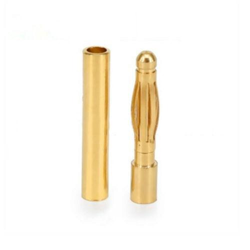 20//40//50x 2mm Gold Bullet Banana Connector Male//Female Plug for Battery Motor fd