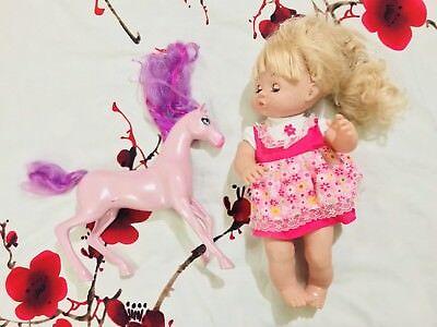 """17"""" Realistiche Rinato Baby Doll Ragazza Neonato Giocattolo Morbido Con 14"""" Mattel Pony Cavallo-mostra Il Titolo Originale"""