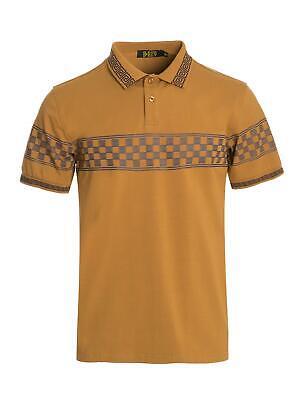 New Mens Short Sleeve Polo Shirt Slim Fit Stretch Navy Blue Gold Checkered Greek