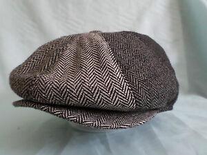 4-TONE-GREY-HERRINGBONE-1920-S-1930-s-VICTORIAN-EDWARDIAN-PEAKY-BLINDERS-CAP