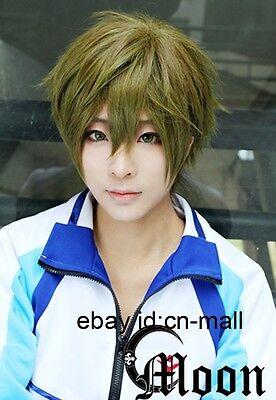 Free! Iwatobi Swim Club Tachibana Makoto Anime Green brown mixed Cosplay Wig
