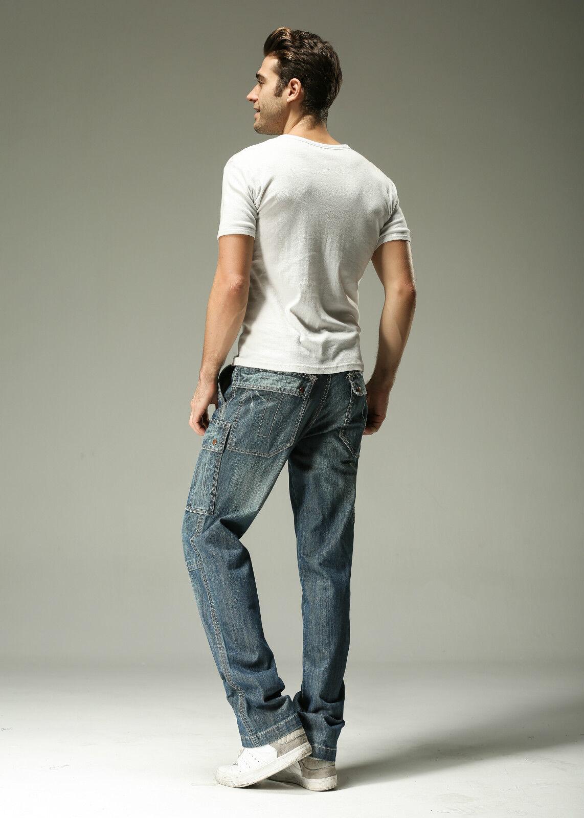 FOX JEANS Men/'s Monroe Regular Fit Straight Blue Denim Cargo Jeans SIZE 32-44
