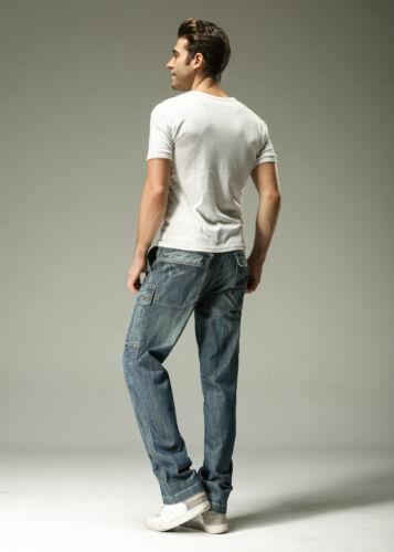 FOX JEANS Men/'s Monroe Regular Fit Straight Blue Denim Mens Cargo Jeans SIZE 40