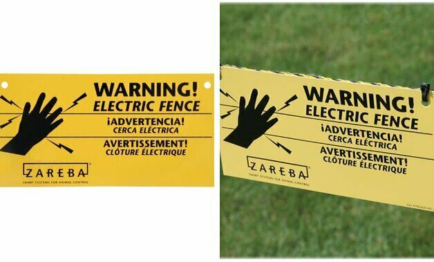 3 3 Signs Zareba 680828 WS3 3-Pack Electric Fence Warning Signs