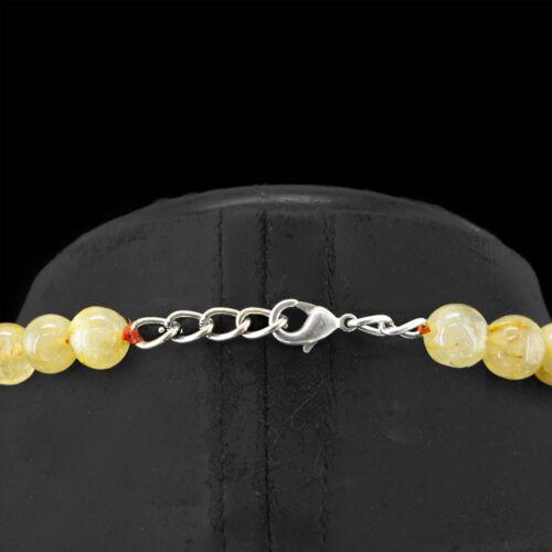 288.50 Cts Naturel Non Traité Round Rich Golden Rutile Quartz Perles Collier