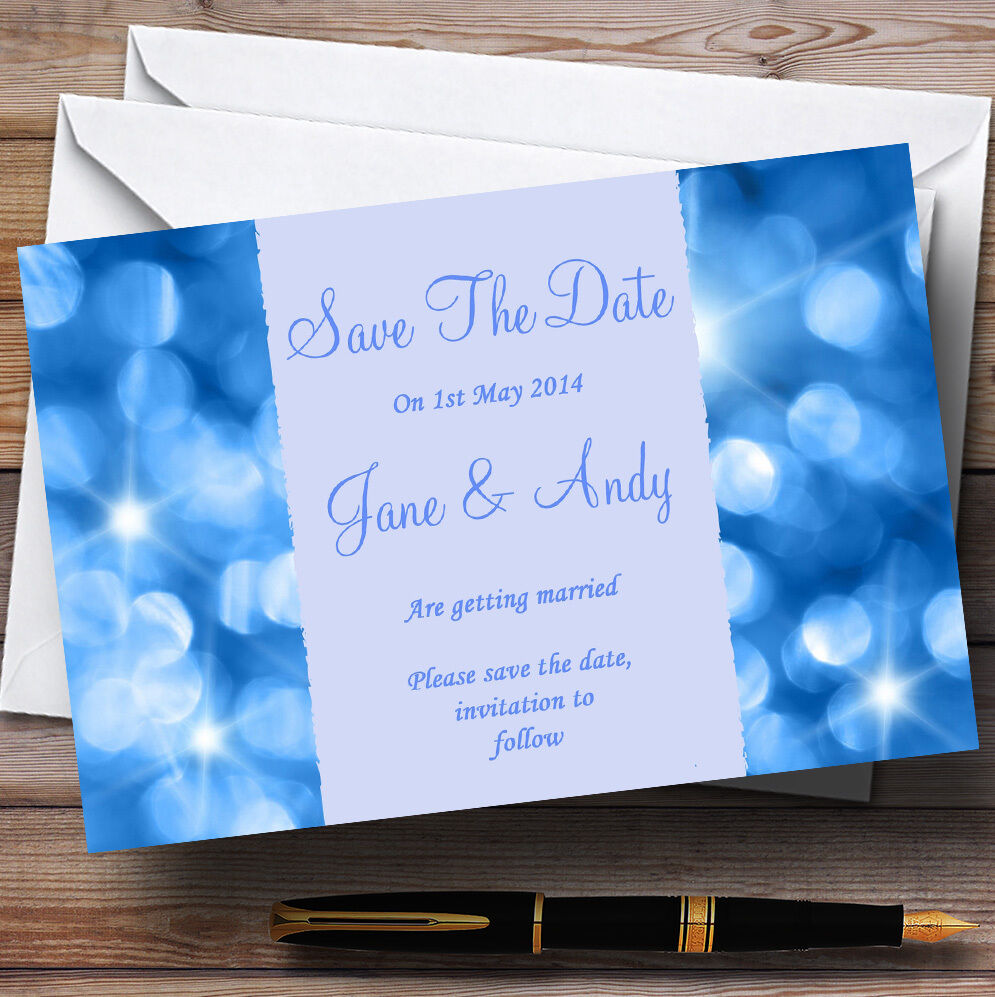 Twinkling Blau Lights Personalised Wedding Save The Date Cards