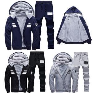 Men Winter Jogging Tracksuit Hoodie Warm Hooded Fleece Jacket Pants Sports Suits