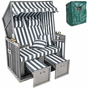 xxl strandkorb volllieger gartenliege ostsee schutzh lle 4 kissen grau wei. Black Bedroom Furniture Sets. Home Design Ideas