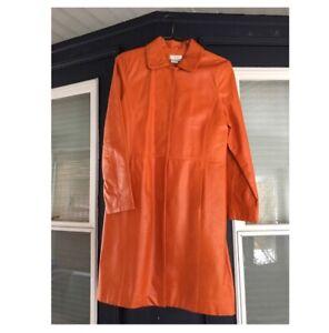 Læder Orange Coat Moda Vintage Women's qIfEER