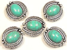 "5 - 2 HOLE SLIDER BEADS 7/8"" FEATHER FRAMED OVAL TURQUOISE CABS WESTERN CONCHO"