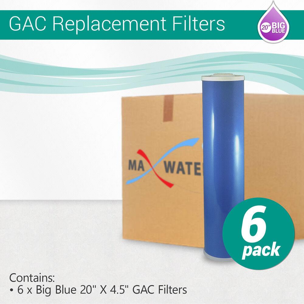 (6) Big Blau 20 x4.5  Whole House GAC Granular Coconut Shell Carbon Water Filter