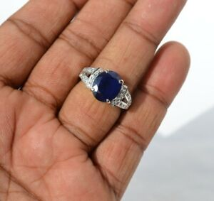 Natural Blue Sapphire Oval Cut Gemstone 925 Solid Silver Women Double Band Ring