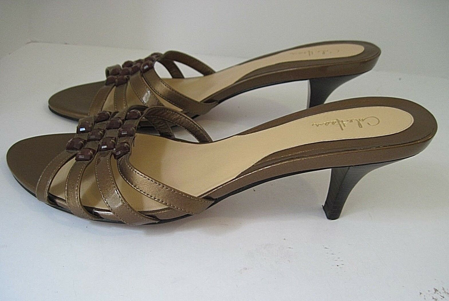 Cole Haan Nke Air Gold  Patent Pelle Strappy Sandals With Front Beads Size 11B