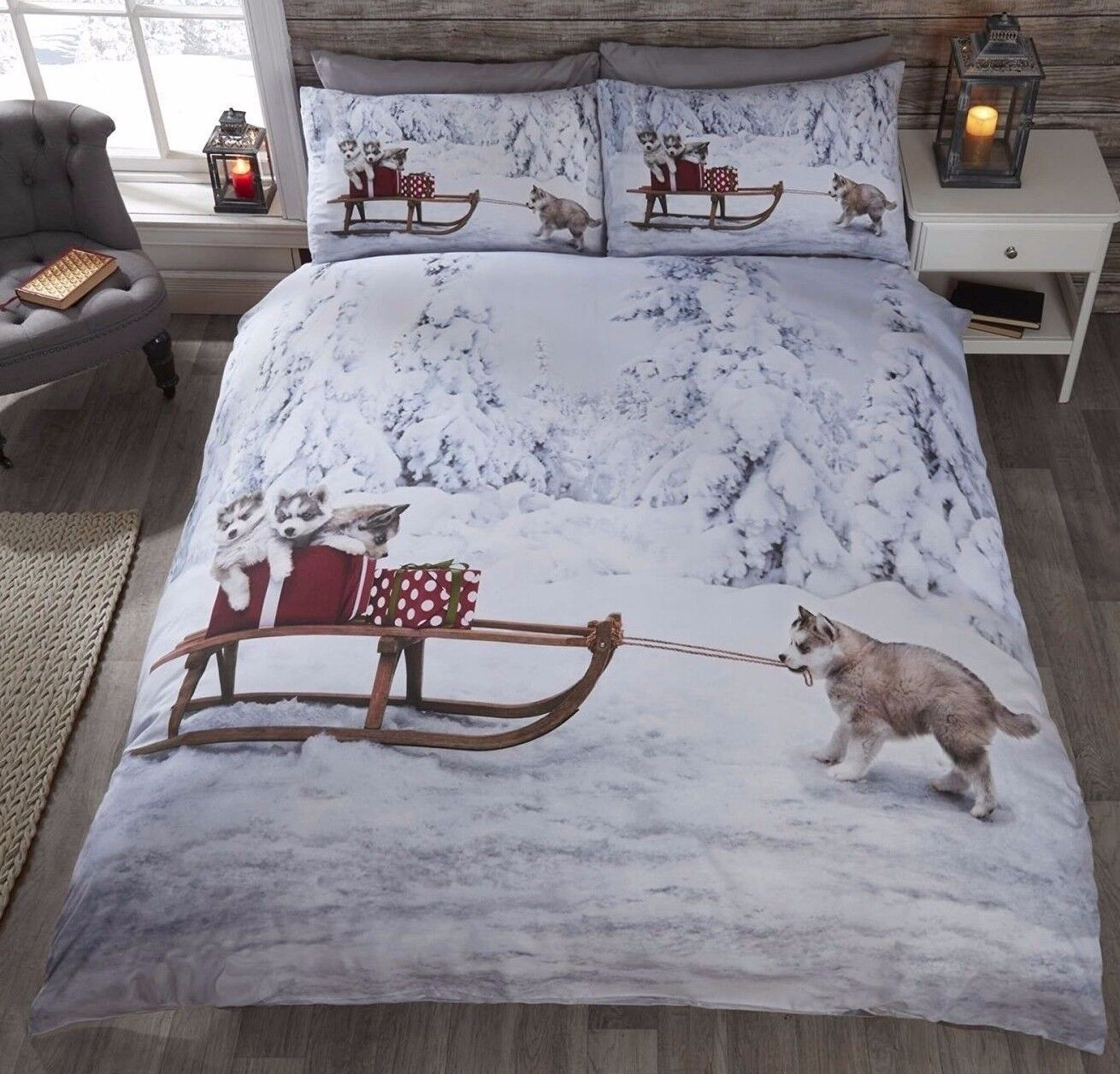 HUSKIES PUPS CHRISTMAS QUILT DUVET COVER SETS,BEDDING SETS,BED LINEN.
