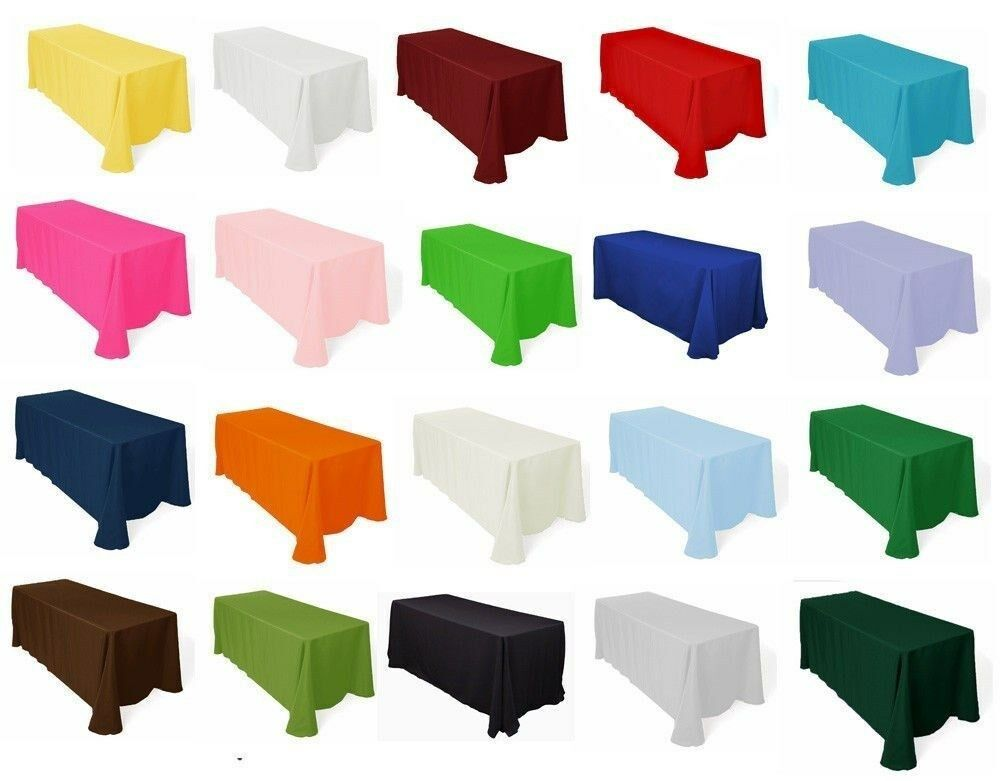 Rectangle 10 60  × 126  Polyester nappes 20 Couleurs 100% transparente Made in USA