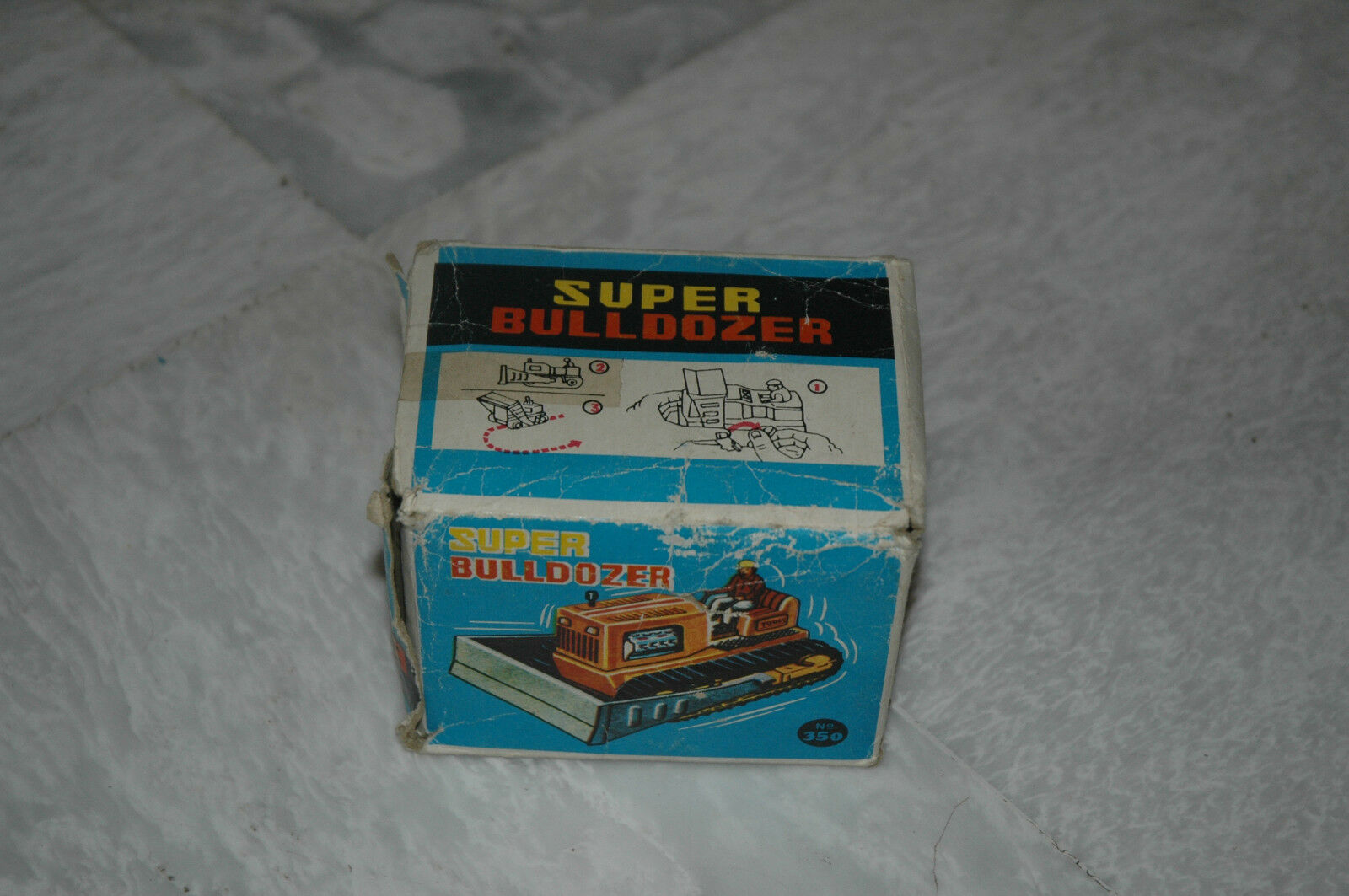 VINTAGE GREEK WIND UP SUPER BULDOZER TOY 60s by Bredhers PAPPAS Very Rare