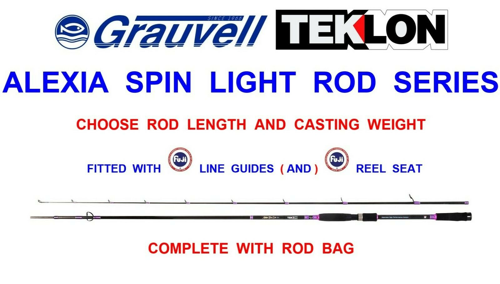 greyVELL TEKLON ALEXIA SPIN LIGHT ROD SEA GAME COARSE FISHING LURE SPINNING RODS