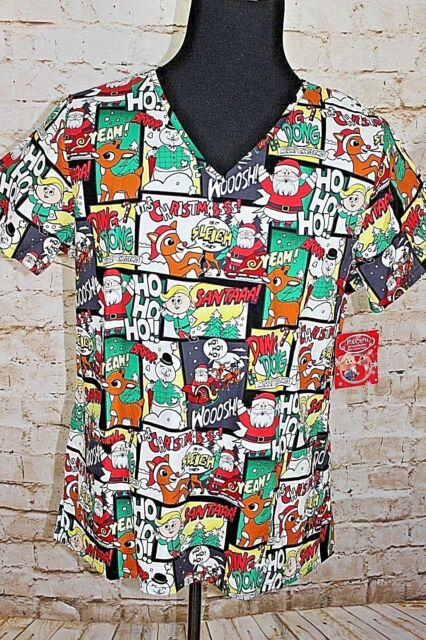 7fa5e66193d Rudolph the Red Nosed Reindeer Holiday Santa Comic Large Nurse Scrub Top