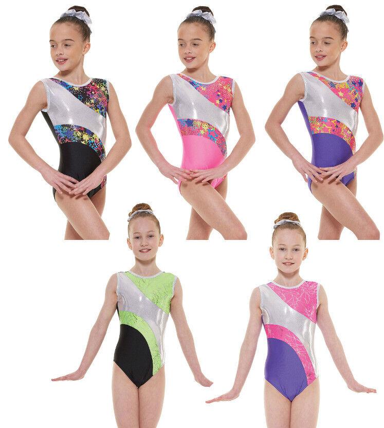 Nylon Sparkly Foil Ladies Gymnastics  Sleeveless Leotard Gym Dancewear 10 & 12  promotions