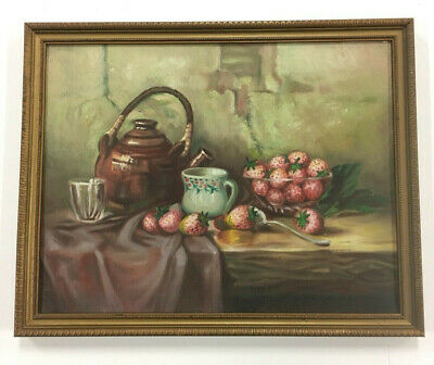 Still Life with Strawberries and Bluetits birds Oil painting Harriet Stannard