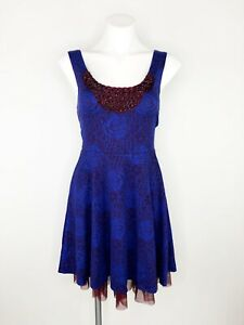 NWT-Free-People-Rock-Princess-Dress-Midnight-Blue-Floral-Burgundy-Tulle-Sz-S