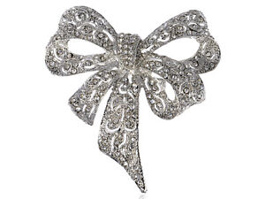 Captivating-Clear-Crystal-Rhinestone-Silver-Tone-Christmas-Ribbon-Bow-Pin-Brooch