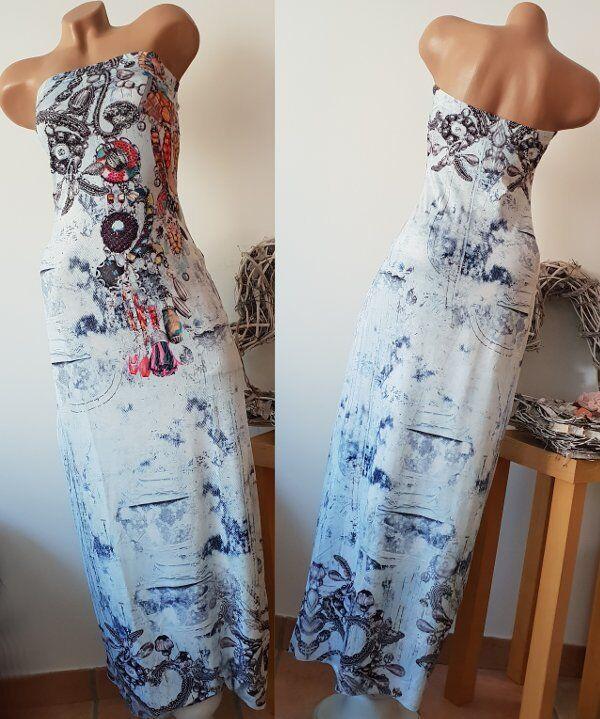 Jeansprint MISSY M L 38 40 Kleid lang bunt Bandeaukleid Tube Maxikleid bandeau