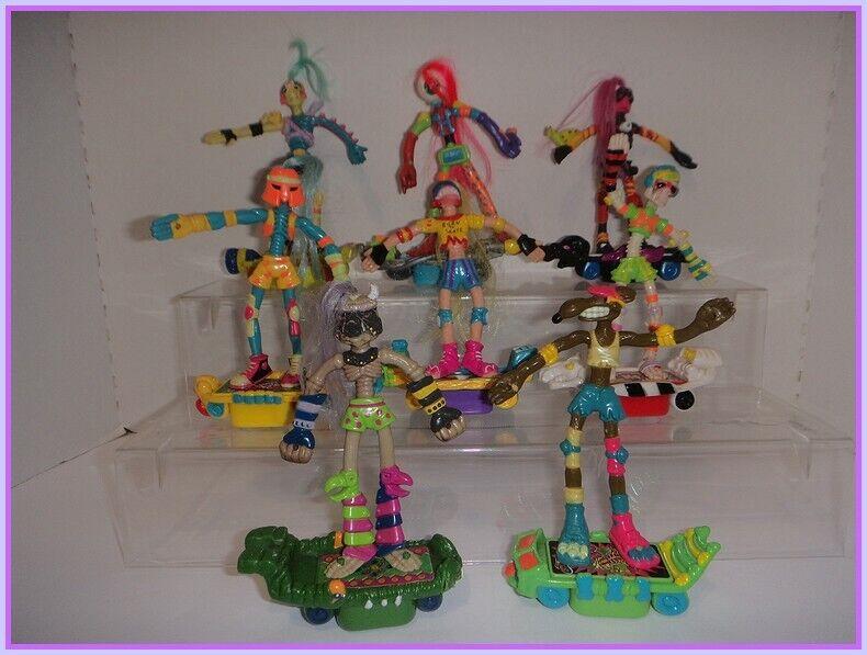 1990 Mattel SLAMMERS Lote-Juego Completo-Bendy patinadores-Esqueleto