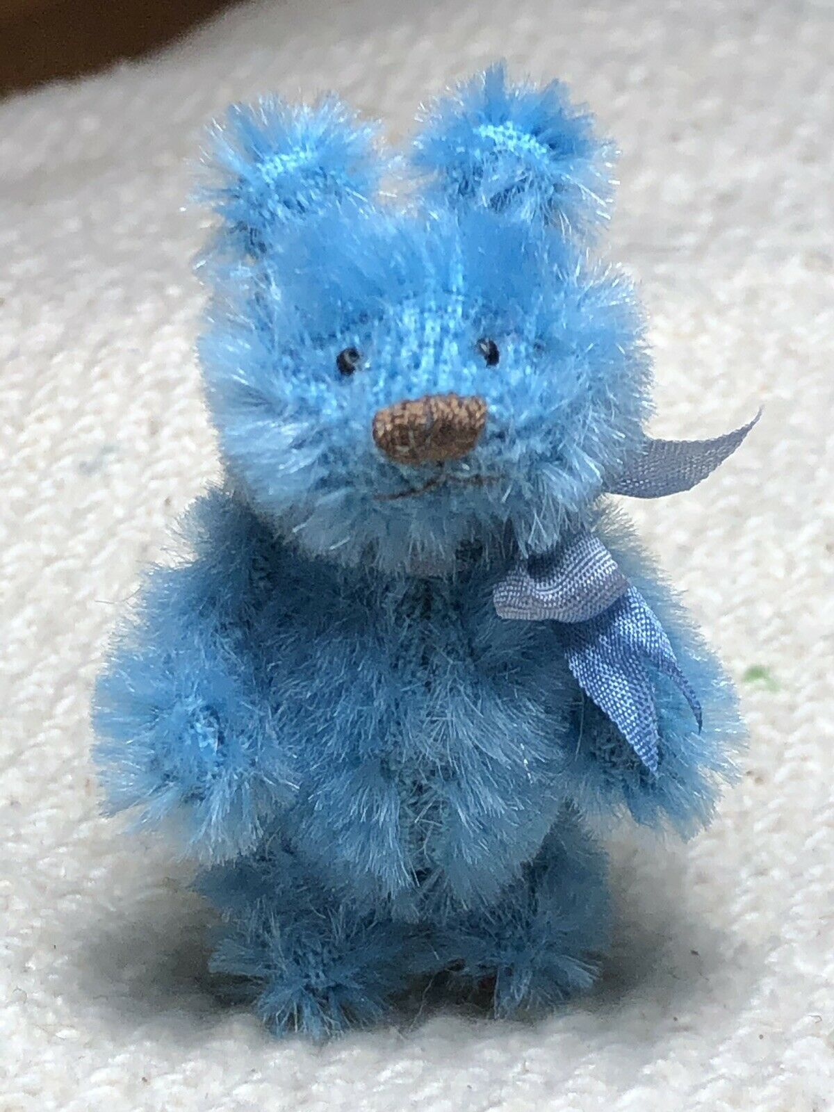 Miniature Hand Sewn 2in. TURQUOISE BLUE Dense Mohair Teddy Bear by Lori Wright