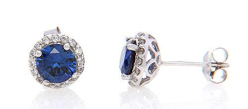 Sterling Silver Halo Style Round Cut Saphir Zircone Cubique Boucles d/'oreilles
