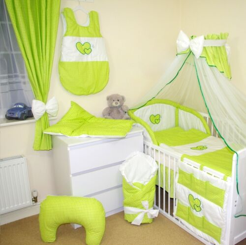 2 SIZES HUGE 17 PCS BABY BEDDING SET  HEARTS FOR COTS AND COTBEDS