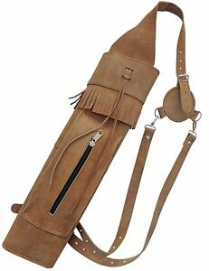 MILD BROWN LEATHER BACK ARROW QUIVER ARCHERY PRODUCTS AQ 161BB.
