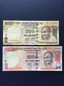 Indian-Rupee-1k-amp-500-Denomination-Bank-Note-Ideal-For-Collection